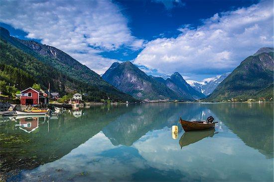Mundal in Fjaerland, Sogn og Fjordane, Norway Stock Photo - Premium Rights-Managed, Artist: R. Ian Lloyd, Image code: 700-07784679