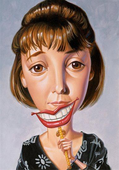 Illustration of Woman Holding Mask with Smile Stock Photo - Premium Rights-Managed, Artist: Kam Yu, Image code: 700-00018247