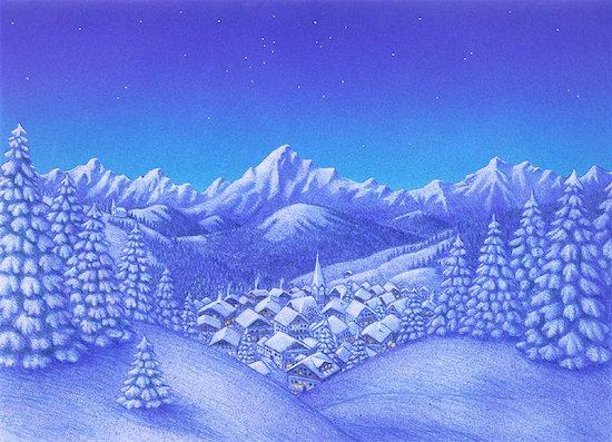 Illustration of Village in Winter Stock Photo - Premium Rights-Managed, Artist: Thomas Dannenberg, Image code: 700-00027620