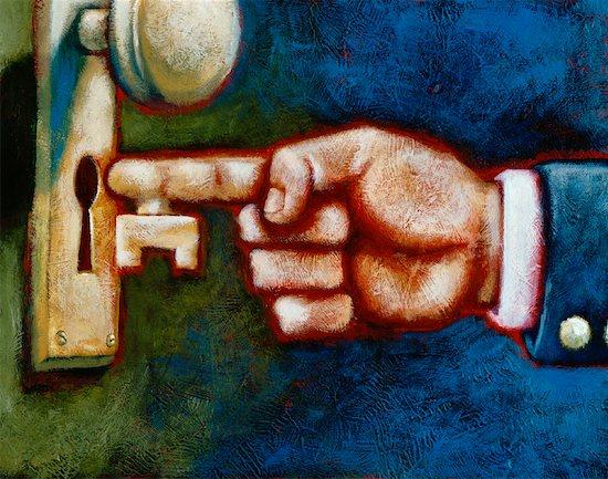 Illustration of Hand with Key Shaped Finger Entering Keyhole Stock Photo - Premium Rights-Managed, Artist: James Wardell, Image code: 700-00058756