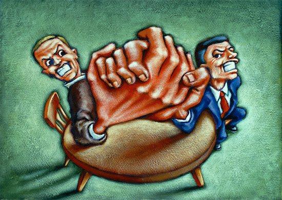 Illustration of Two Businessmen Arm Wrestling Stock Photo - Premium Rights-Managed, Artist: James Wardell, Image code: 700-00061952