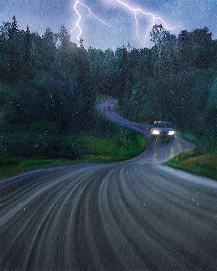 Car on Wet Road Stock Photo - Premium Rights-Managed, Artist: Allan Davey Studios, Image code: 700-00285832