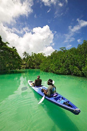 Kayaking on the Malo River, Malo Island, Espiritu Santo, Vanuatu Stock Photo - Premium Rights-Managed, Artist: R. Ian Lloyd, Image code: 700-00554011