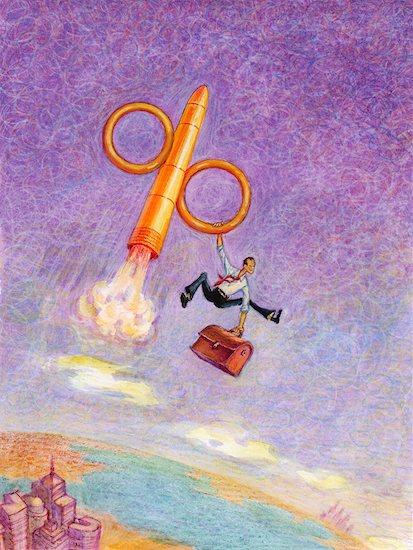 Illustration of Businessman Riding Percentage Symbol Rocket Stock Photo - Premium Rights-Managed, Artist: Wei Yan, Image code: 700-00609448