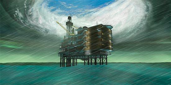 Hurricane Over Oil Drilling Platform Stock Photo - Premium Rights-Managed, Artist: Rick Fischer, Image code: 700-00683365