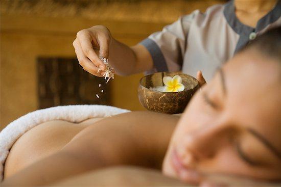 Woman Rceiveing a Coconut Body Scrub, Oberoi Hotel Spa, Mauritius Stock Photo - Premium Rights-Managed, Artist: R. Ian Lloyd, Image code: 700-00955154