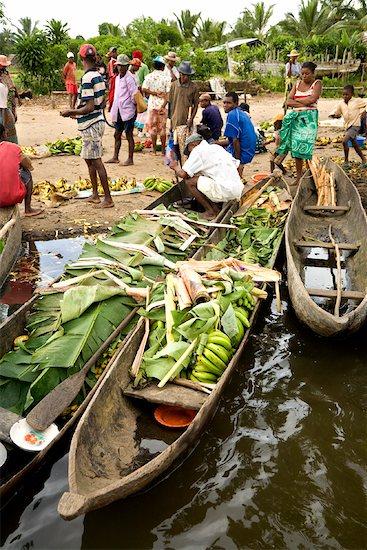 Dugout Boats at Market, Antainambalana River, Maroantsetra, Madagascar Stock Photo - Premium Rights-Managed, Artist: R. Ian Lloyd, Image code: 700-01112691