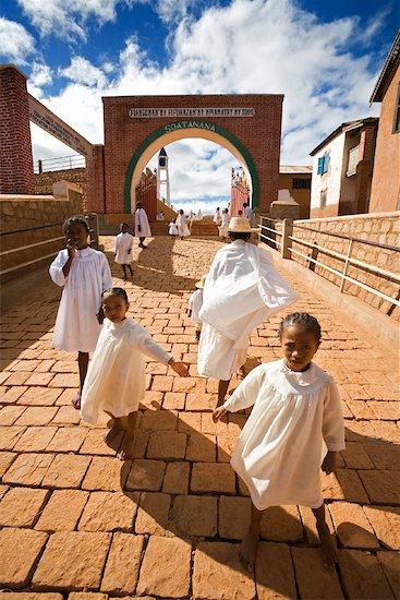 Children in Village Dressed in White, Soatanana, Madagascar Stock Photo - Premium Rights-Managed, Artist: R. Ian Lloyd, Image code: 700-01112709