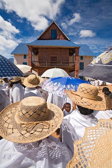 People Dressed in White Walking to Church, Soatanana, Madagascar Stock Photo - Premium Rights-Managed, Artist: R. Ian Lloyd, Image code: 700-01112734