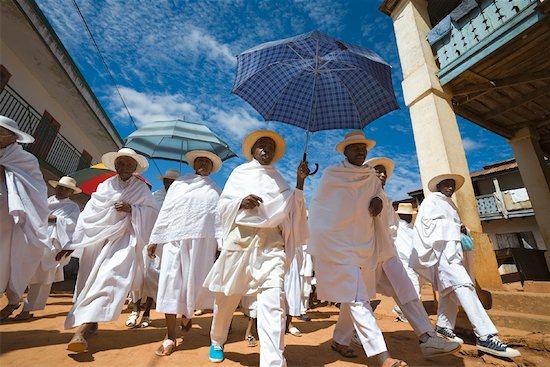 People Dressed in White Walking to Church, Soatanana, Madagascar Stock Photo - Premium Rights-Managed, Artist: R. Ian Lloyd, Image code: 700-01112731
