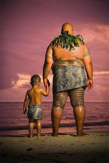 Father and Son on Beach, Upolu, Samoa Stock Photo - Premium Rights-Managed, Artist: R. Ian Lloyd, Image code: 700-01519466