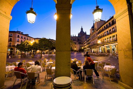Cafe, Plaza Mayor, Segovia, Segovia Province, Castilla y Leon, Spain Stock Photo - Premium Rights-Managed, Artist: R. Ian Lloyd, Image code: 700-01879779
