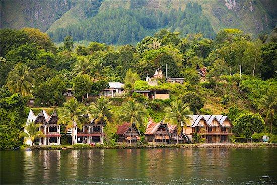 Traditional Buildings on Lake Shore, Lake Toba, Sumatra, Indonesia Stock Photo - Premium Rights-Managed, Artist: R. Ian Lloyd, Image code: 700-02046530