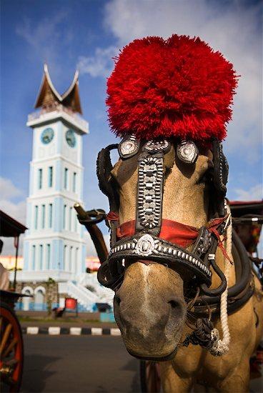 Horse and Carriage by Clock Tower, Jam Gadang, Bukittinggi, Sumatra, Indonesia Stock Photo - Premium Rights-Managed, Artist: R. Ian Lloyd, Image code: 700-02046585