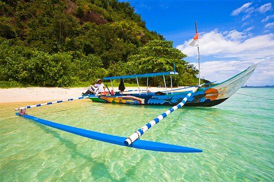 Boat by Shoreline, Bungus Bay, Sumatra, Indonesia Stock Photo - Premium Rights-Managed, Artist: R. Ian Lloyd, Image code: 700-02046610