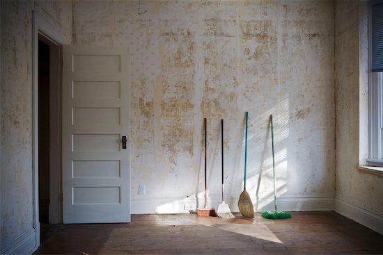 Various Brooms in Empty Room Stock Photo - Premium Rights-Managed, Artist: Virginia Macdonald, Image code: 700-02056681