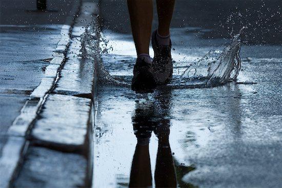 Man Running on Wet Road, Providence, Rhode Island, USA Stock Photo - Premium Rights-Managed, Artist: Michael Eudenbach, Image code: 700-02200350