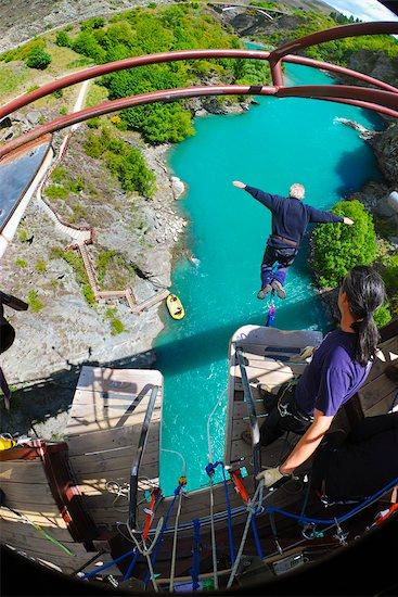 Bungee Jumping off Kawarau Suspension Bridge near Queenstown, South Island, New Zealand Stock Photo - Premium Rights-Managed, Artist: R. Ian Lloyd, Image code: 700-03333701