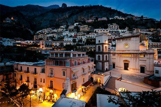 View of Positano at Dusk, Campania, Italy Stock Photo - Premium Rights-Managed, Artist: R. Ian Lloyd, Image code: 700-03641112