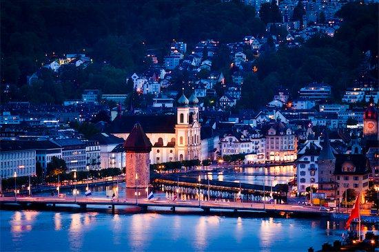 Lucerne at Dusk, Switzerland Stock Photo - Premium Rights-Managed, Artist: R. Ian Lloyd, Image code: 700-03654606