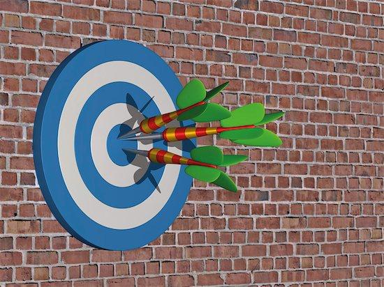 Darts Hitting Bulls-eye Stock Photo - Premium Rights-Managed, Artist: Anna Huber, Image code: 700-03665639