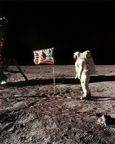 APOLLO 11 PLANTING UNITED STATES FLAG ON MOON Stock Photo - Premium Rights-Managed, Artist: ClassicStock, Image code: 846-09012819