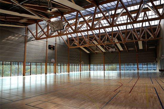 France, Pays de la Loire, Nantes, high school, empty sports hall, gymnasium. Stock Photo - Premium Rights-Managed, Artist: Photononstop, Image code: 877-08898449